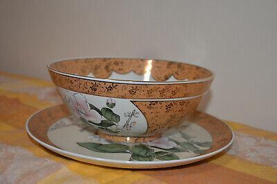 Japanese Kutani-ware Flower Bird pattern Bowl and Plate set Gold Cherry Blossom. 9