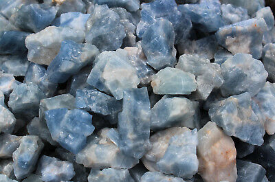 Bulk Wholesale Lot: Rough Blue Calcite 2 lb Crystal Healing Chakra Raw Chunks 4