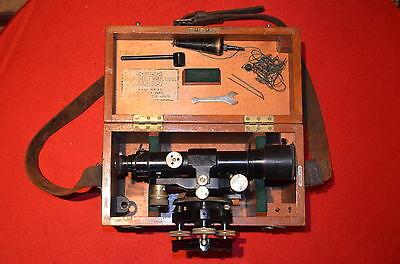 *Nivel Óptico Antiguo OPTIC SURVEYING LEVEL +tripod+wood box+tools THEODOLITE * 2