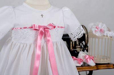 56-86 Baby*Mädchen SWAROVSKI Taufkleid 3-tlg. Gr