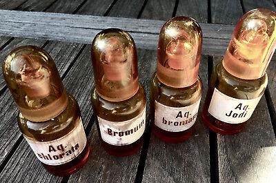 Apotheker - 4 x schicke Glaskappenfläschchen - u. a. BROM - Gruseldeko :-) 3