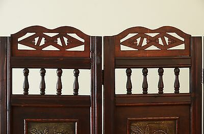 2 Of 5 Palm Tree Room Divider Screen 4 Panel Wooden Frame