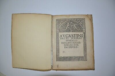 1494 incunabula AVGVSTINI DATTI SCRIBSE SENENSIS Rome Extremely rare antique 3