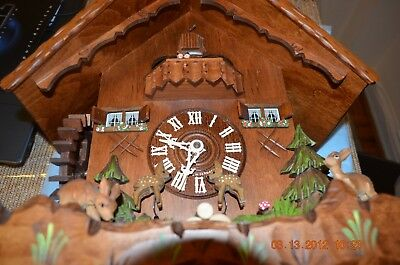 8 day Cuckoo Clock with music and Wooden Weights WORKING  AND SERVICED set of 1 4