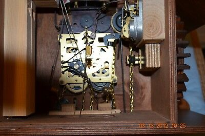 8 day Cuckoo Clock with music and Wooden Weights WORKING  AND SERVICED set of 1 8