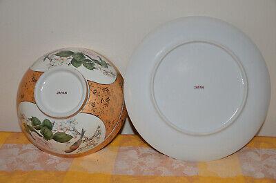 Japanese Kutani-ware Flower Bird pattern Bowl and Plate set Gold Cherry Blossom. 4
