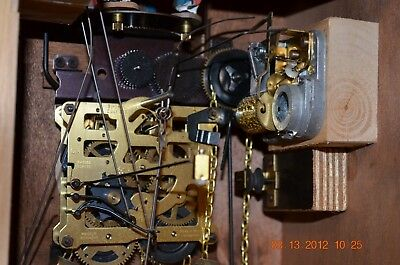 8 day Cuckoo Clock with music and Wooden Weights WORKING  AND SERVICED set of 1 9