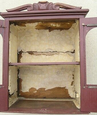 18/19 Century Delicate Early American Primitive Hanging Cupboard Red Paint 5
