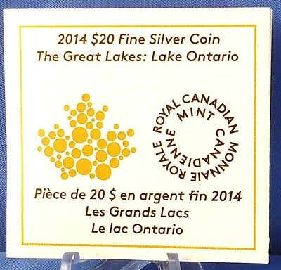Canada 2014 Lake Ontario $20 1 oz Pure Silver Enameled Proof Coin Great Lakes #2 11
