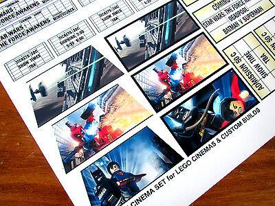 CINEMA STICKER SET for Lego 10232 10184 & CUSTOM BUILDS- THE FORCE AWAKENS +MORE 3