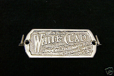 Ice Box Label White Clad Brass Nickel Plated 2