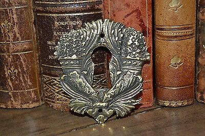 One Antique French Brass Floral Vase Urn Keyhole Escutcheon 2 Available 2