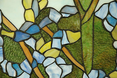 """20"""" x 34"""" Tiffany Style stained glass window panel 2 parrots birds 6"""