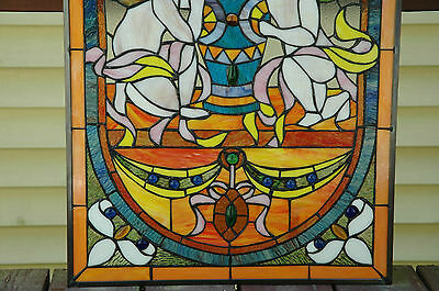 "20"" x 34""  two baby angel Tiffany Style stained glass Jeweled window panel 9"