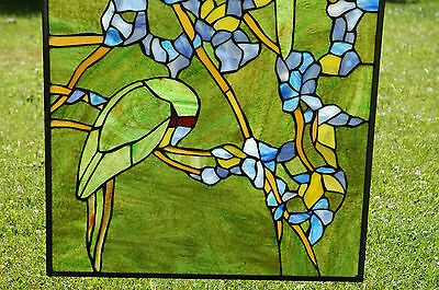 "20"" x 34"" Tiffany Style stained glass window panel 2 parrots birds 3"