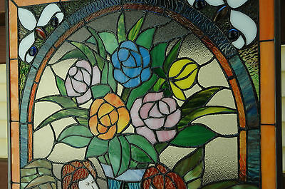 """20"""" x 34"""" Tiffany Style stained glass window panel Jeweled two angel 10"""
