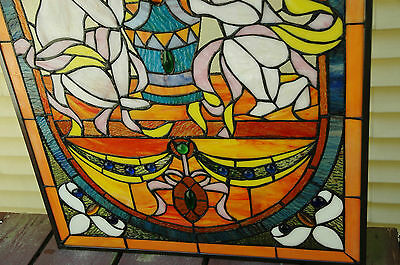 "20"" x 34""  two baby angel Tiffany Style stained glass Jeweled window panel 11"