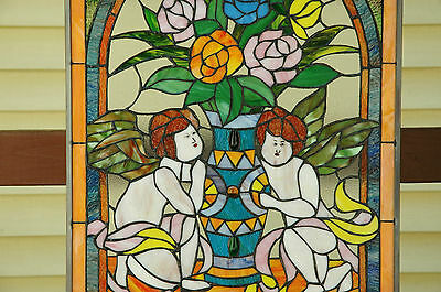 """20"""" x 34"""" Tiffany Style stained glass window panel Jeweled two angel 8"""