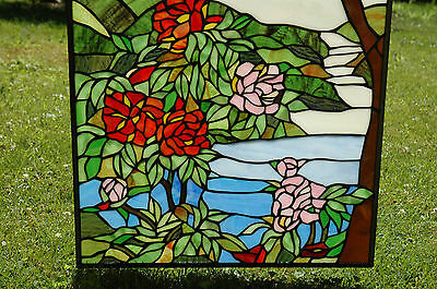 "20"" x 34"" Tiffany Style stained glass Jeweled window panel Cherry Blossom 4"