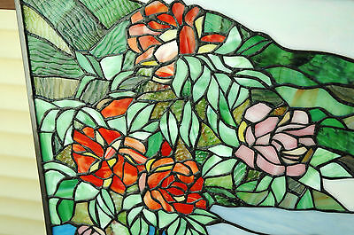 """20"""" x 34"""" Tiffany Style stained glass Jeweled window panel Cherry Blossom 9"""