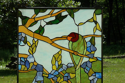 "20"" x 34"" Tiffany Style stained glass window panel 2 parrots birds 2"