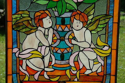 """20"""" x 34"""" Tiffany Style stained glass window panel Jeweled two angel 5"""