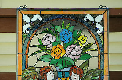 """20"""" x 34"""" Tiffany Style stained glass window panel Jeweled two angel 7"""