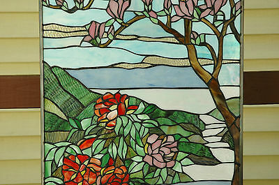 """20"""" x 34"""" Tiffany Style stained glass Jeweled window panel Cherry Blossom 7"""