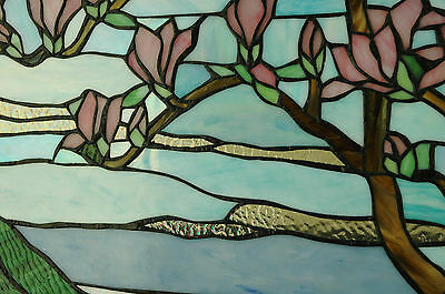 "20"" x 34"" Tiffany Style stained glass Jeweled window panel Cherry Blossom 9"