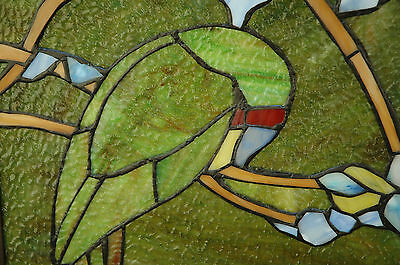 "20"" x 34"" Tiffany Style stained glass window panel 2 parrots birds 4"