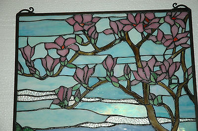 """20"""" x 34"""" Tiffany Style stained glass Jeweled window panel Cherry Blossom 11"""