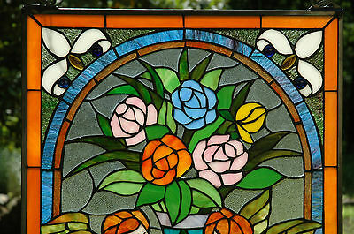 """20"""" x 34"""" Tiffany Style stained glass window panel Jeweled two angel 2"""