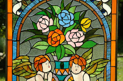 """20"""" x 34"""" Tiffany Style stained glass window panel Jeweled two angel 3"""