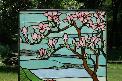 "20"" x 34"" Tiffany Style stained glass Jeweled window panel Cherry Blossom 3"