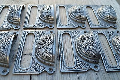 A Set Of 8 Large Edwardian Cast Iron Label Frame Handle Filing Drawer Pull Cb10 2