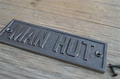 Fantastic Cast Iron Vintage Style Man Hut Metal Door Sign Shed Plaque Cb3 2