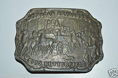WOW Old Vintage Brass Tone Metal American Express Wells Butterfield Belt Buckle