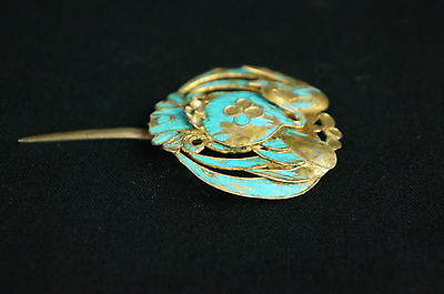 Antique Chinese blue Kingfisher feather hair stick pin ornament [Y9-W6-A9] 5