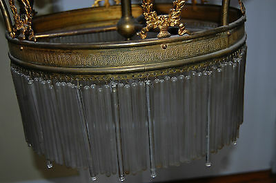 Antique Gorgeous Art Nouveau Brass Chandelier Glass Tubes Circa 19Th Century 2