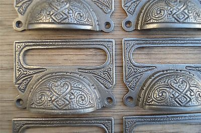 A Set Of 8 Large Edwardian Cast Iron Label Frame Handle Filing Drawer Pull Cb10 3
