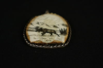 """Outstanding native american carving,sterling casing, signed 2"""" [Y9-W6-A9] 3"""