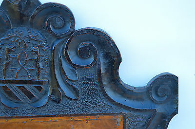 French Antique Gothic Hand Carved Walnut Wooden Pediment - Blazon 17th.c 10