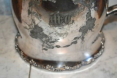 Antique F B Rogers Quadruple Silverplate Large Water Ice Pitcher Ceramic Lined 5