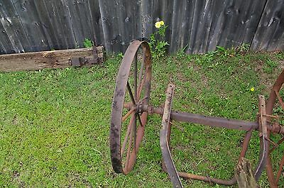 Antique Metal Rustic Wagon Wheels with sprocket Axle  Garden Yard western art 5