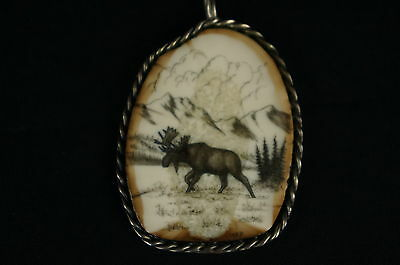 """Outstanding native american carving,sterling casing, signed 2"""" [Y9-W6-A9] 2"""