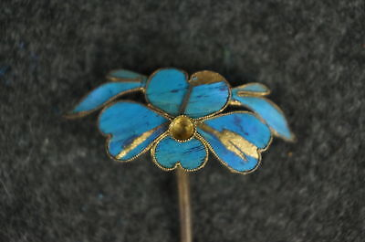 Antique Chinese blue Kingfisher feather hair stick pin ornament [Y9-W6-A9] 6
