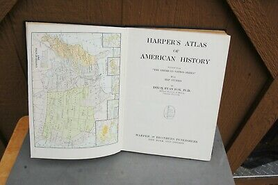 Harpers Atlas American History HC 1920 Dixon Ryan Fox Rare Maps Color 168 pg 2
