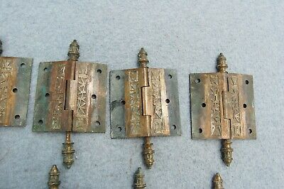 "Solid Brass Door Hinge Lot 10 Art Nouveau Chinoisery Butterfly 3 1/2"" Antique 9"