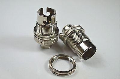 2 Nickel Small Bayonet B15 Fitting Bulb Holder Lamp Holder Shade Ring 10Mm L6 3