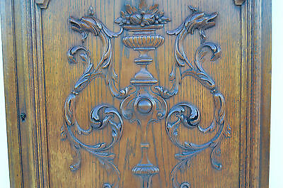French Antique Carved Oak Wood Architectural Door Panel Gothic Chimeras Griffin 7